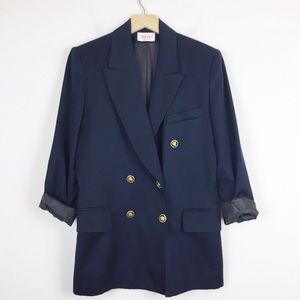 Vintage double breasted wool blazer navy with gold